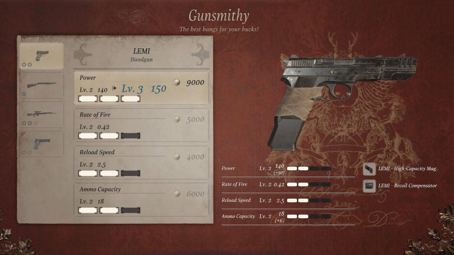Меню улучшения оружия в оружейной мастерской герцога