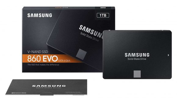 Samsung's black SATA SSD along with its packaging