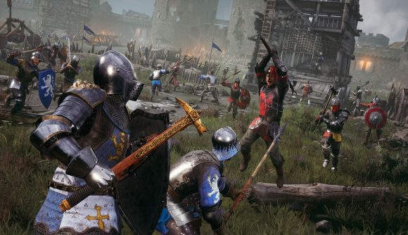 Pushing a siege tower forward during the siege of Rudhelm in Chivalry 2