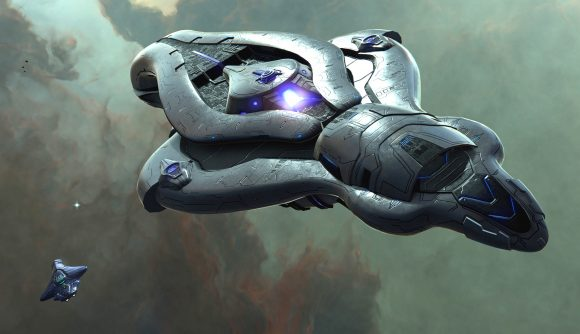 A covenant ship in space, from Halo mod Sins of the Prophet 2