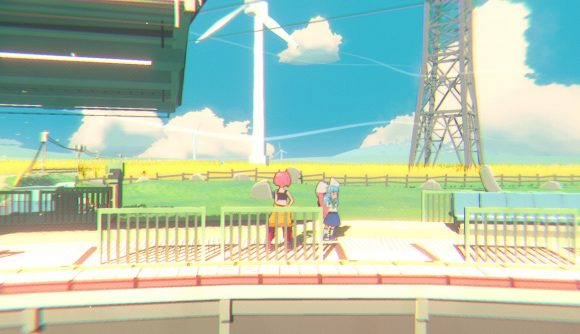 Two characters from Unbeatable stand at a train station