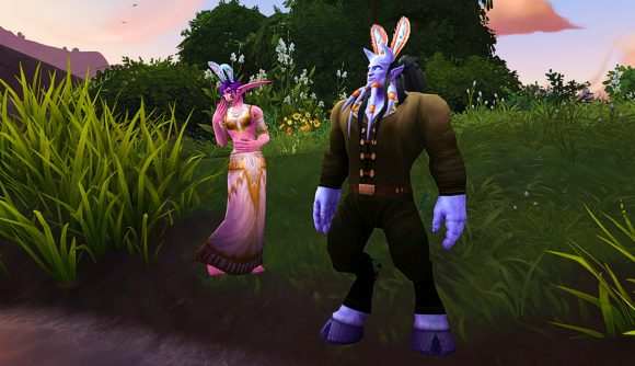 Two WoW characters dressed up for Noblegarden