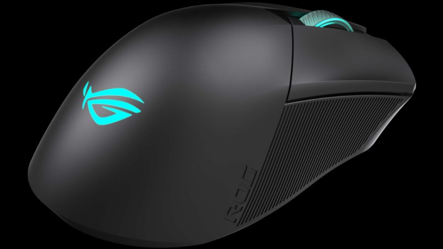 The rear of the Gladius 3 Wireless gaming mouse features the Asus logo