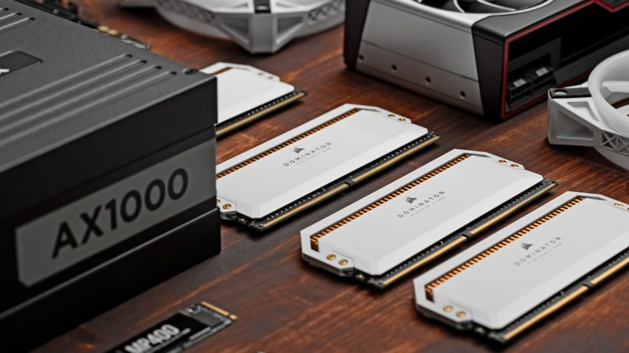 Corsair's Vengeance RAM in white next to a power supply unit, graphics card, and SSD