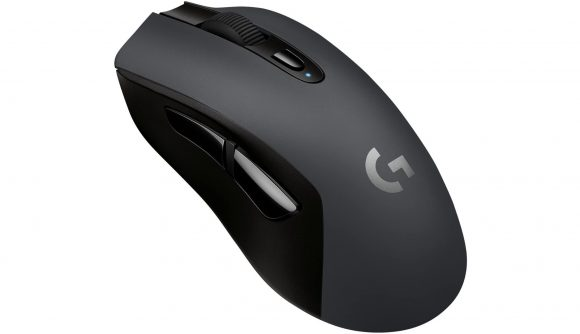 A product photo of Logitech's G603 Lightspeed wireless gaming mouse with a white background