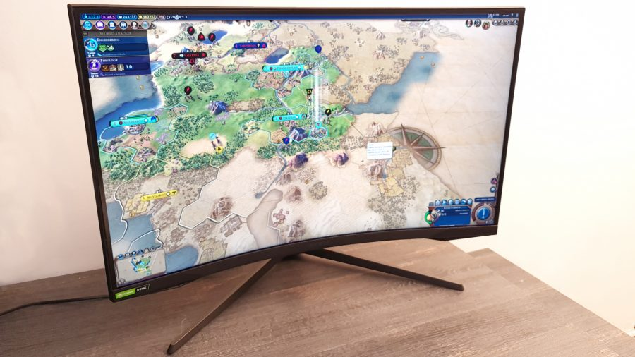 The 32-inch Samsung Odyssey G7 gaming monitor plays strategy games like Civilization VI well