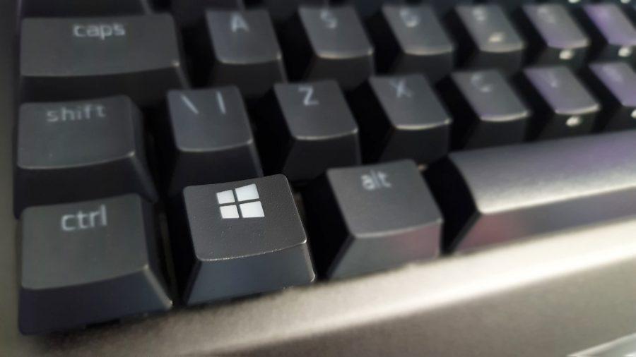 A black keyboard with a Windows key