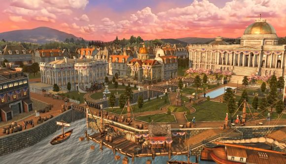 The home city screen for the US civilisation in Age of Empires 3 DE