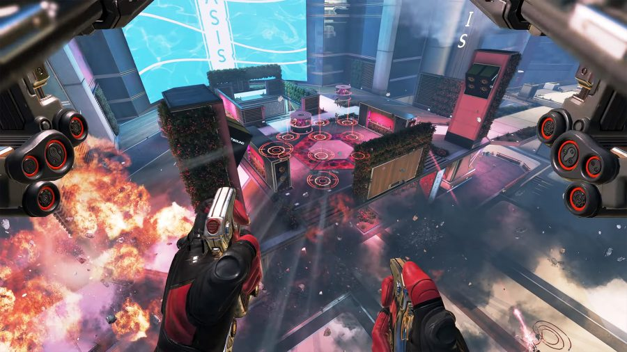 Валькирия использует свою тактическую способность Missile Swarm от первого лица