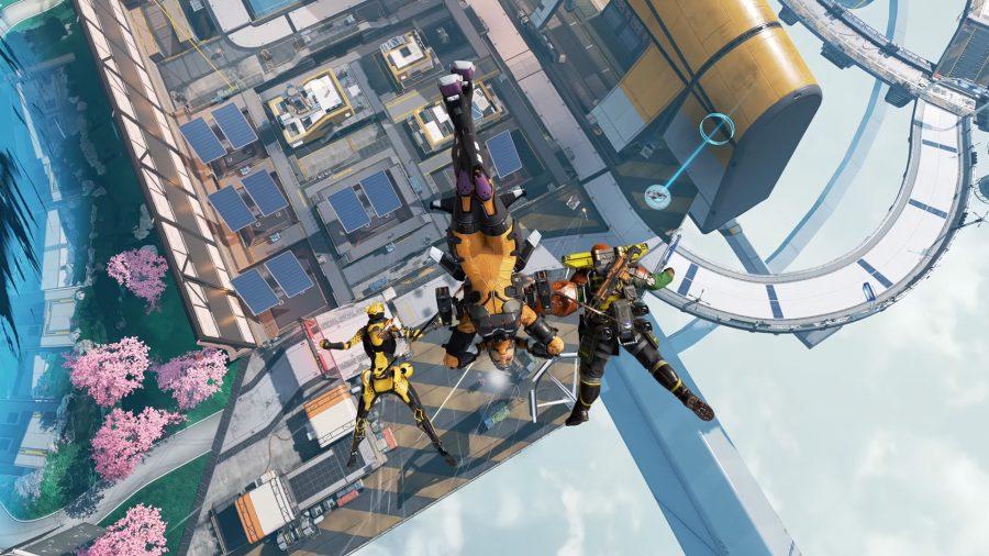 Octane, Valkyrie и Caustic передислоцируются с помощью ультимативной способности Valkyrie's Skyward Dive.