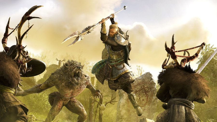 Eivor battling beasts and druids in Assassin's Creed Valhalla: Wrath of the Druids DLC