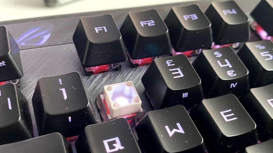 Close up of the Red optical switches used in the ROG Claymore II