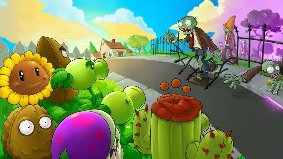 A horde of zombies cross the road toward a garden full of plants with faces