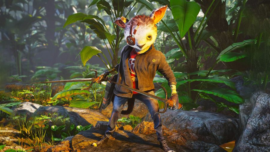 The Saboteur class holding two melee weapons in Biomutant