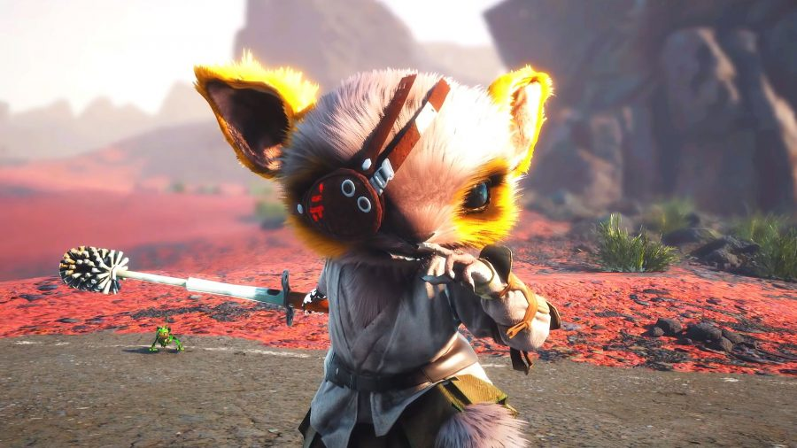 Main character from Biomutant holding a toilet brush as a weapon