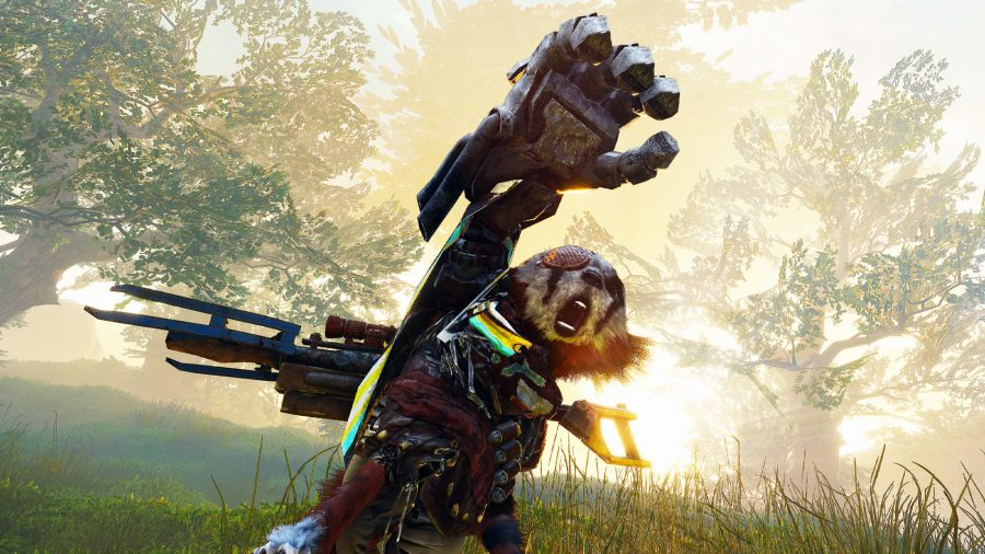The furry character in Biomutant raising its gloved hand high