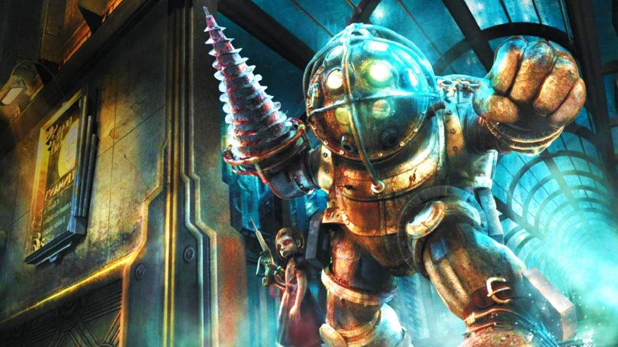Big Daddy and Little Sister from Bioshock's key art
