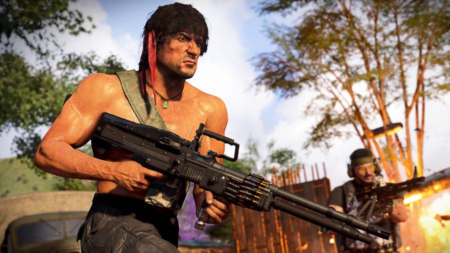 Rambo carrying a light machine gun in Call of Duty Warzone