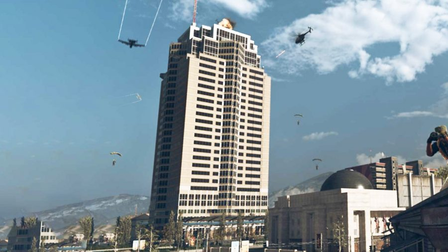 Nakatomi Plaza during the day in Call of Duty Warzone
