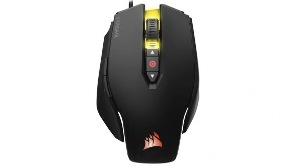 A black gaming mouse with red and yellow RGB lighting enabled