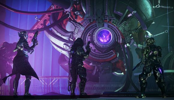 Three Destiny 2 players looking at a giant purple orb