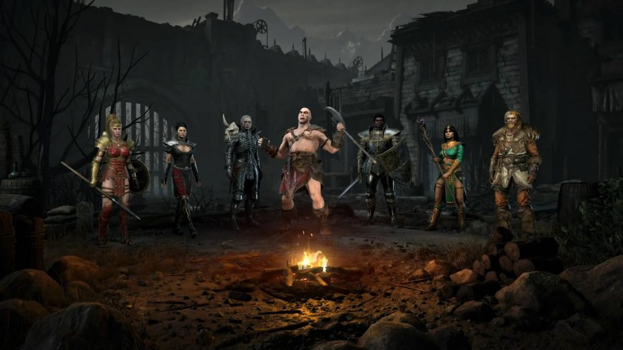 All seven Diablo 2 Resurrected classes by the camp fire. The barbarian is screaming.
