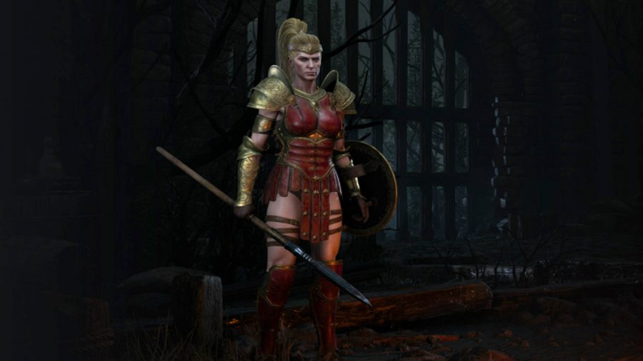 The Diablo 2 Resurrected Amazon is holding a spear and a shield.
