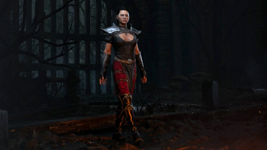 The Assassin class in Diablo 2 Resurrected is standing by the fire.