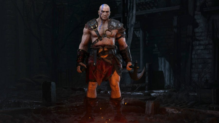 The barbarian class in Diablo 2 Resurrected is wearing just a loincloth and a harness while holding an axe.
