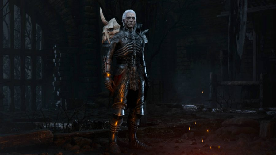 The Necromancer in Diablo 2 Resurrected has full armour with a horned skull shoulder pad.