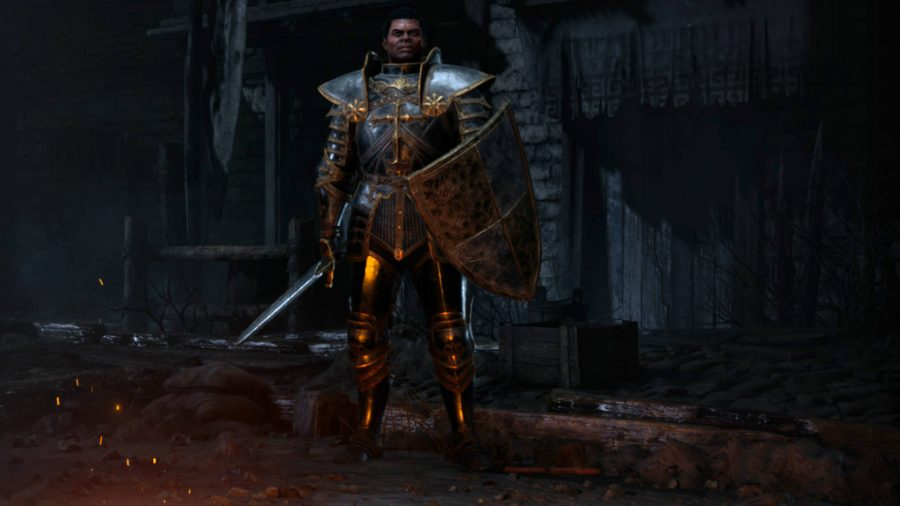 The Paladin in Diablo 2 Resurrected has full body armour and uses a sword and shield.
