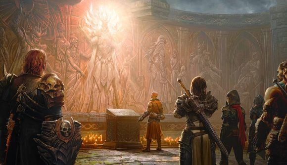 Diablo Immortal characters stare at an alter