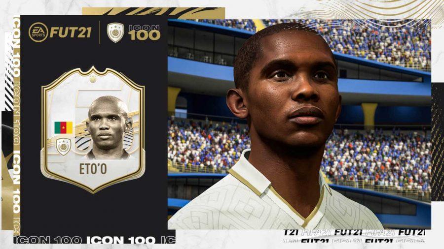 Самуэль Это'о смотрит вдаль рядом со своей карточкой FIFA 21 Icon