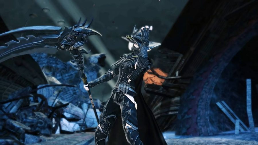 The new Reaper class, holding a giant scythe in FFXIV