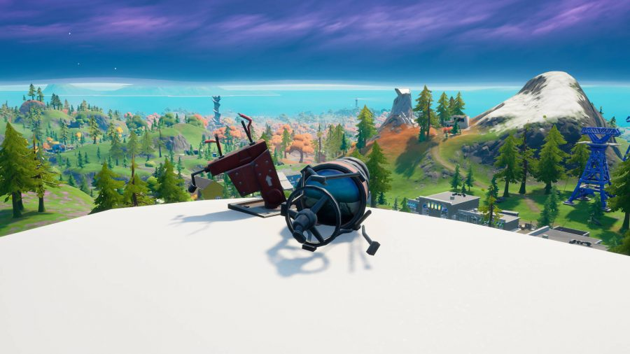 One of five Fortnite broken telescopes. It's on a mountain near Retail Row.