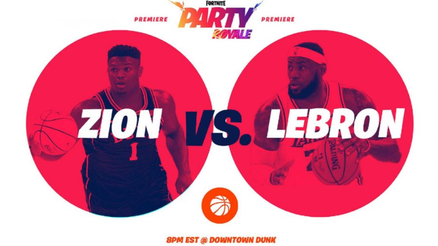 Fortnite party royale poster featuring Zion and LeBron James