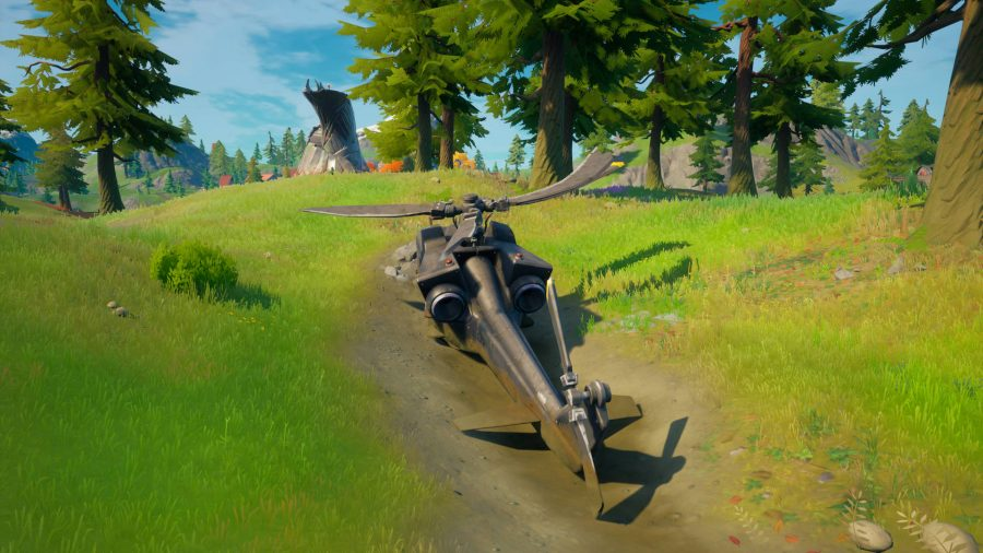 A downed black helicopter crashed near one of the Fortnite spiers.