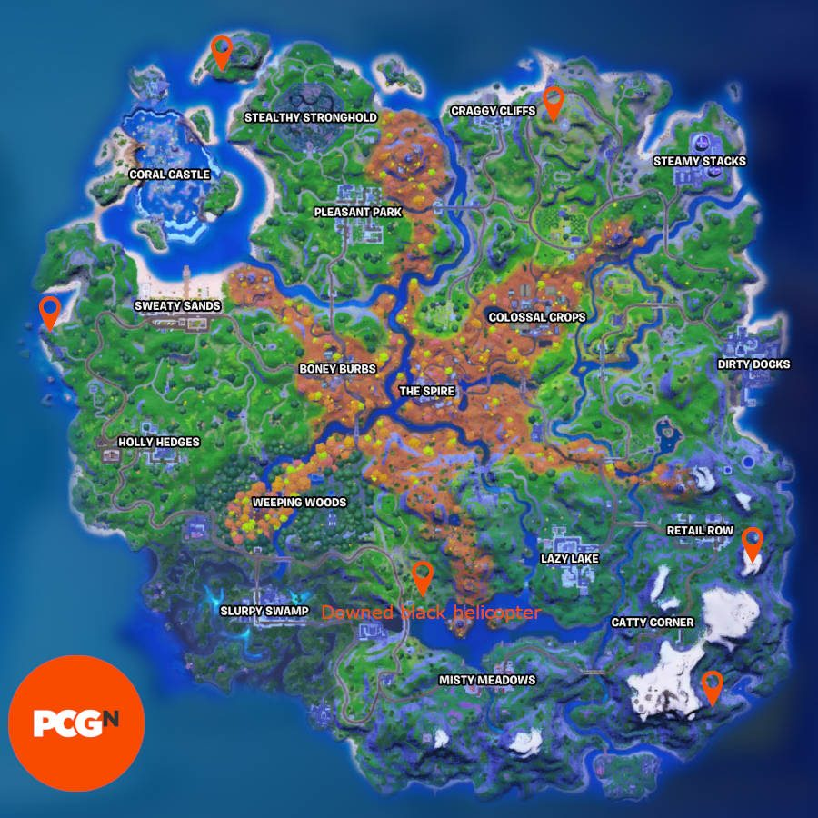 All five Fortnite broken telescope locations and the location of the downed black helicopter