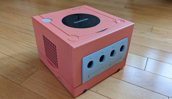 A pink gamecube case