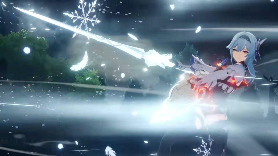 Eula wielding a sword in Genshin Impact