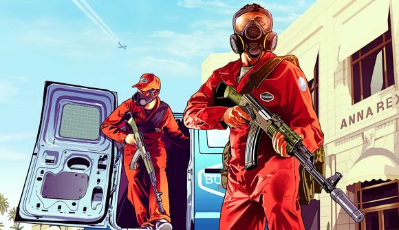 Two GTA 5 characters during a pest control missions