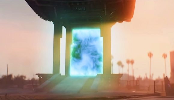 A GTA Los Santos gate turned into a prop for a Burning Crusade event