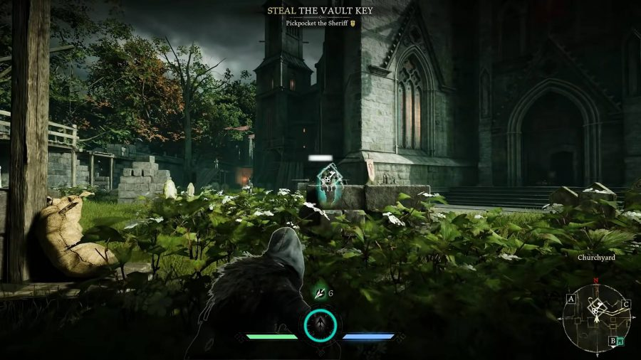 the ranger crouched in a bush aiming a bow at a guard