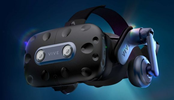 HTC's blue and black, chunky VR headset