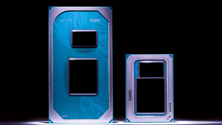 Two Intel processors against a black background