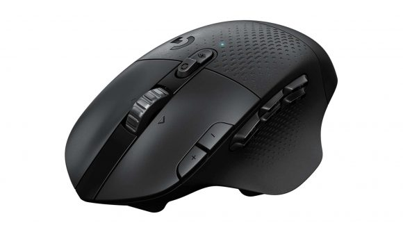 A black wireless mouse showing its six macro side buttons