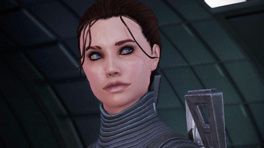 Close up shot of female Shepard from Mass Effect