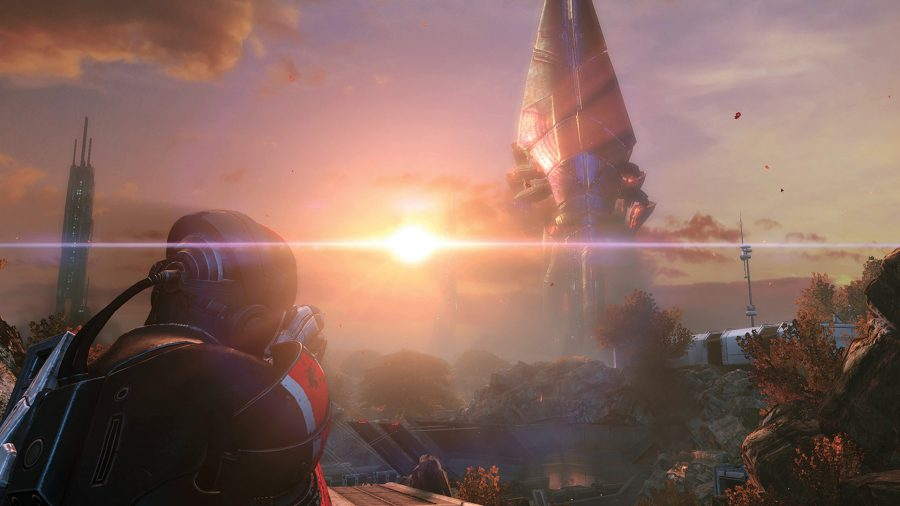 Shepard in third person looking towards the horizon in Mass Effect