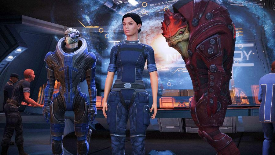 Ashley, Wrex, and Garrus posing in the Normandy in Mass Effect Legendary Edition