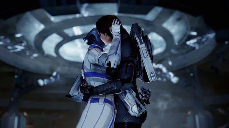 Liara and Femshep romance scene in Mass Effect Legendary Edition